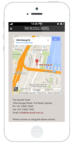 Russell hotel iphone site by intervision design