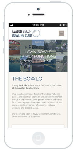 Avalon bowling club website by intervision design