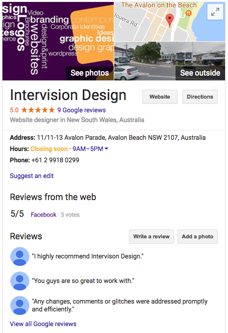 Intervision Design Google My Business Listing